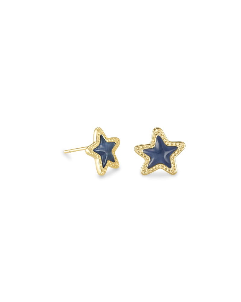 Jae Star Gold Stud Earrings in Navy Cat's Eye