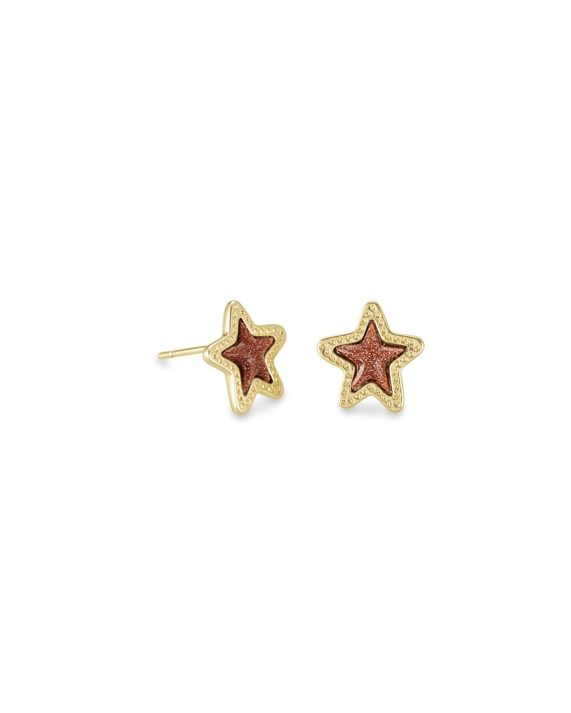Jae Star Gold Stud Earrings in Orange Goldstone