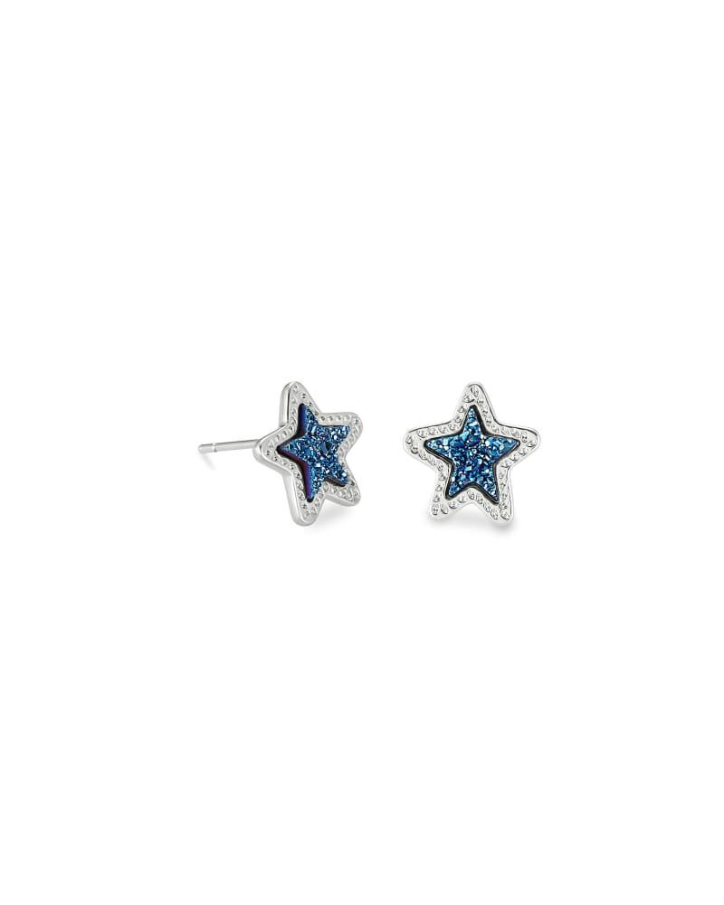 Jae Star Silver Stud Earrings in Blue Drusy