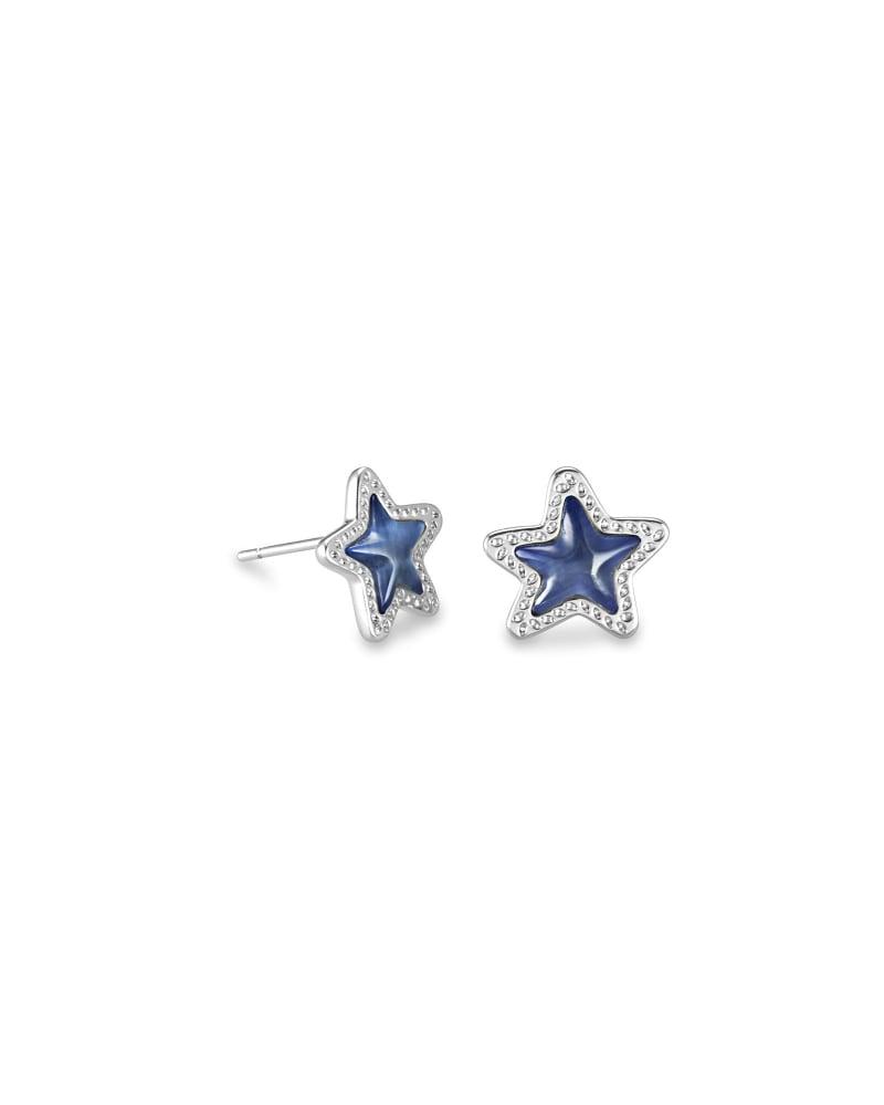 Jae Star Silver Stud Earrings in Navy Cat's Eye