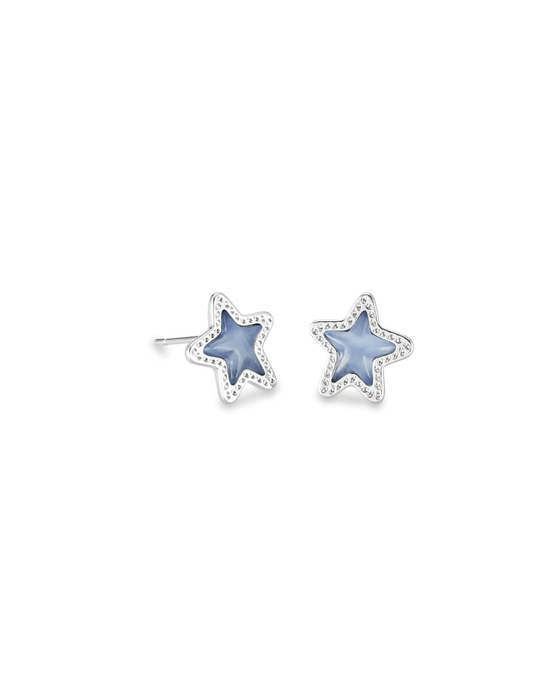 Jae Star Silver Stud Earrings in Periwinkle Cat's Eye