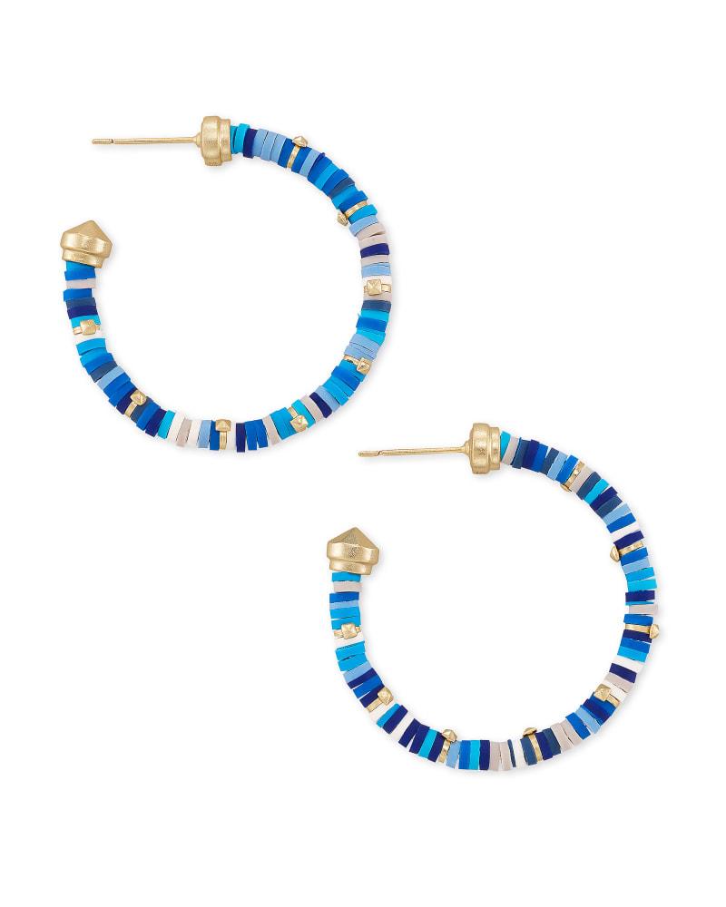 Reece Gold Small Hoop Earrings in Blue Mix