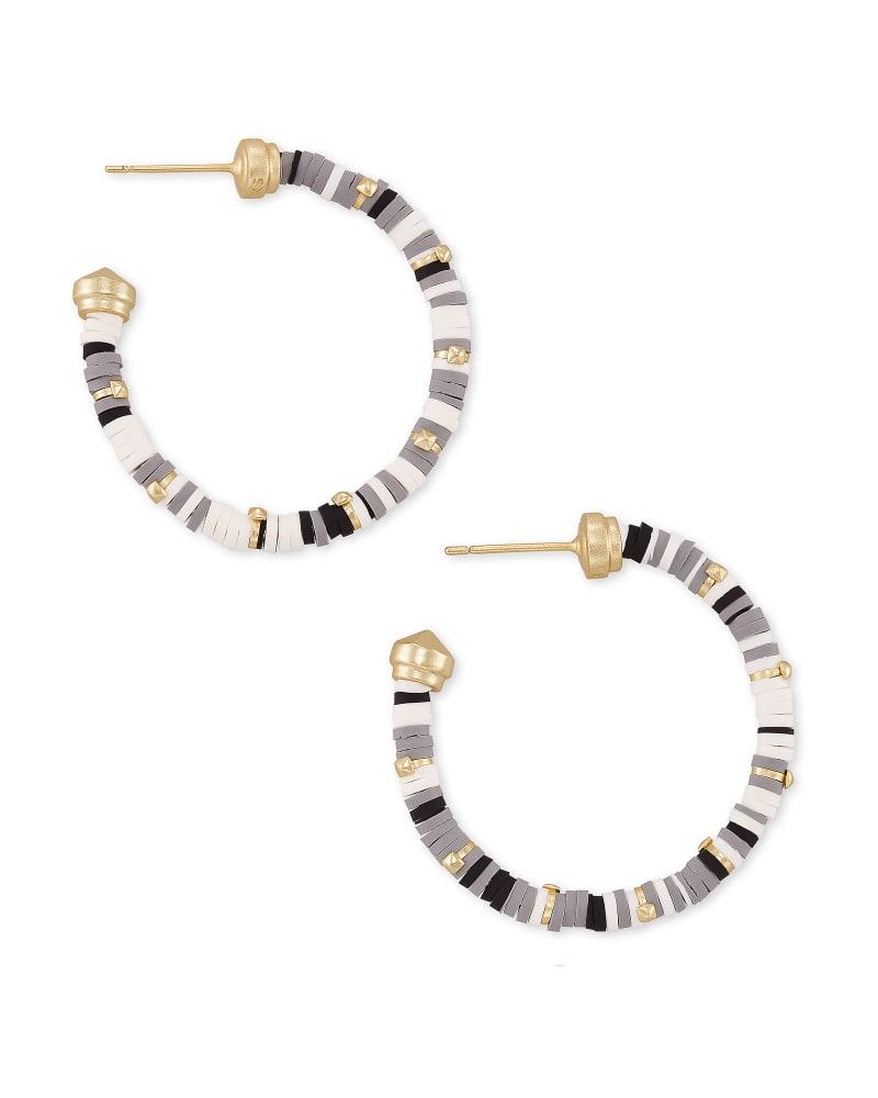 Reece Gold Small Hoop Earrings in Gray Mix