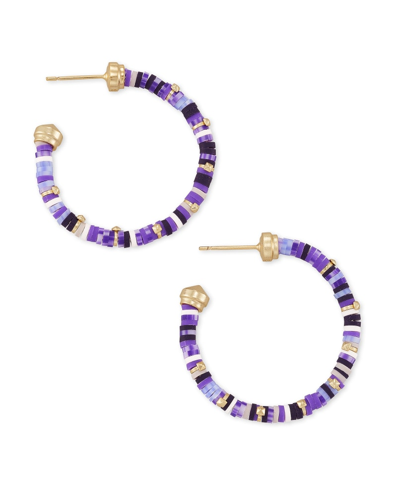 Reece Gold Small Hoop Earrings in Purple Mix