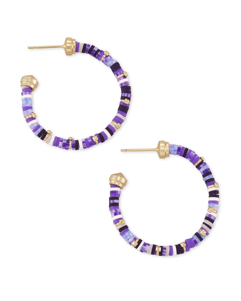 Reece Gold Small Hoop Earrings in Purple Mix