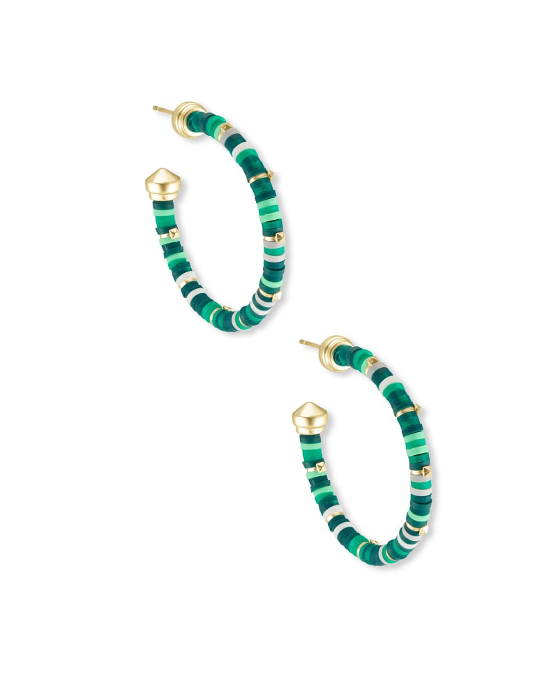 Reece Gold Small Hoop Earrings in Green Mix
