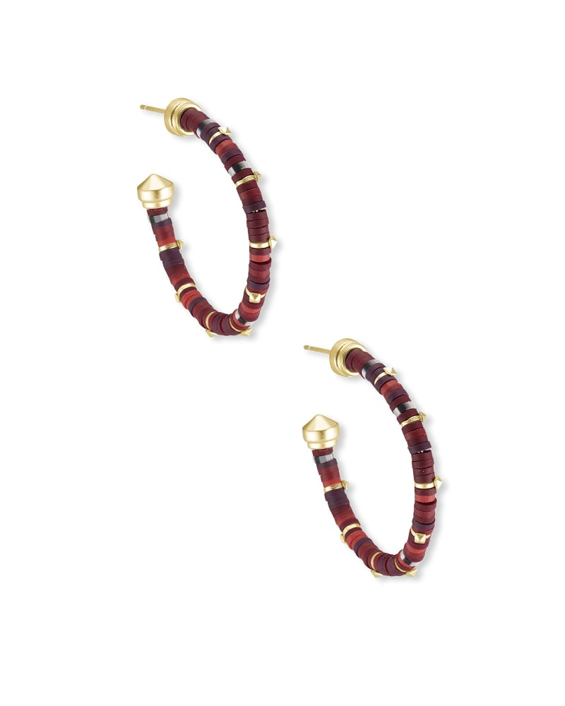 Reece Gold Small Hoop Earrings in Maroon Mix