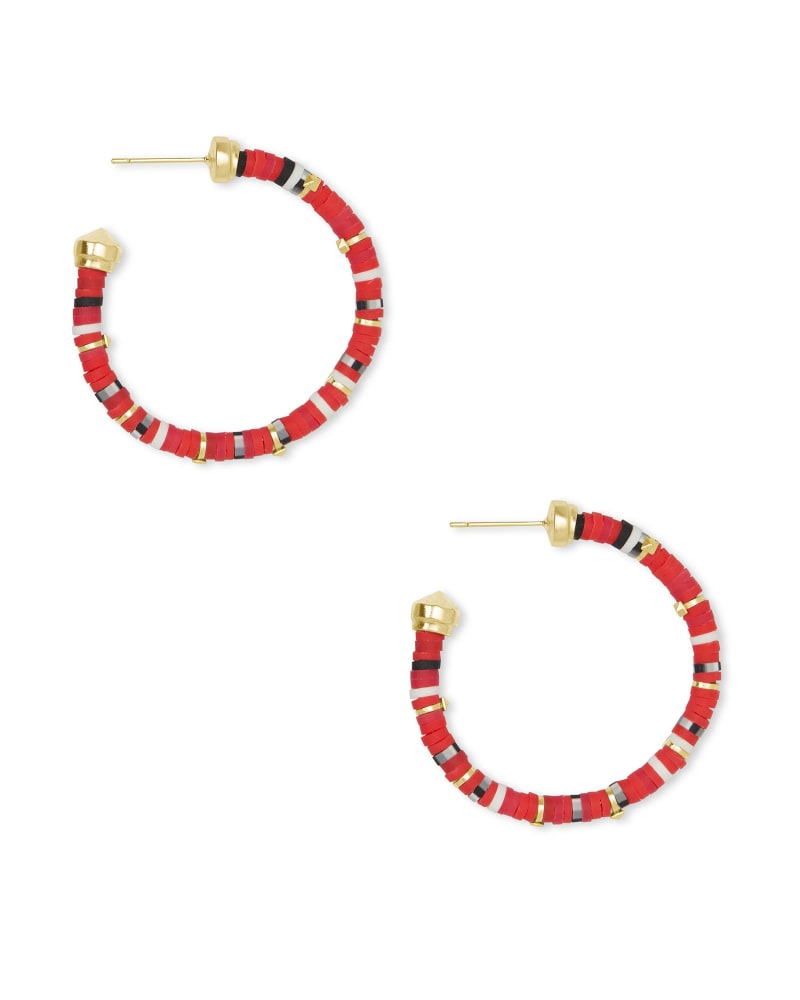Reece Gold Small Hoop Earrings in Red Mix