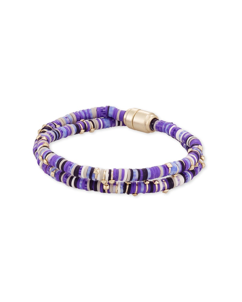Reece Gold Wrap Bracelet in Purple Mix