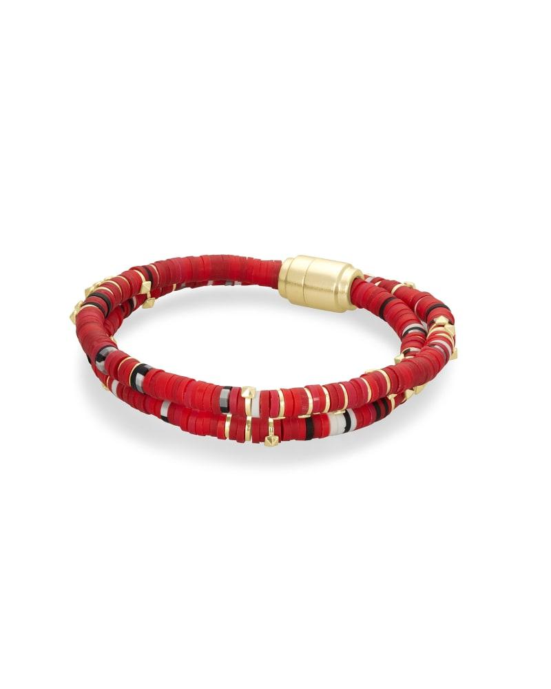 Reece Gold Wrap Bracelet in Red Mix