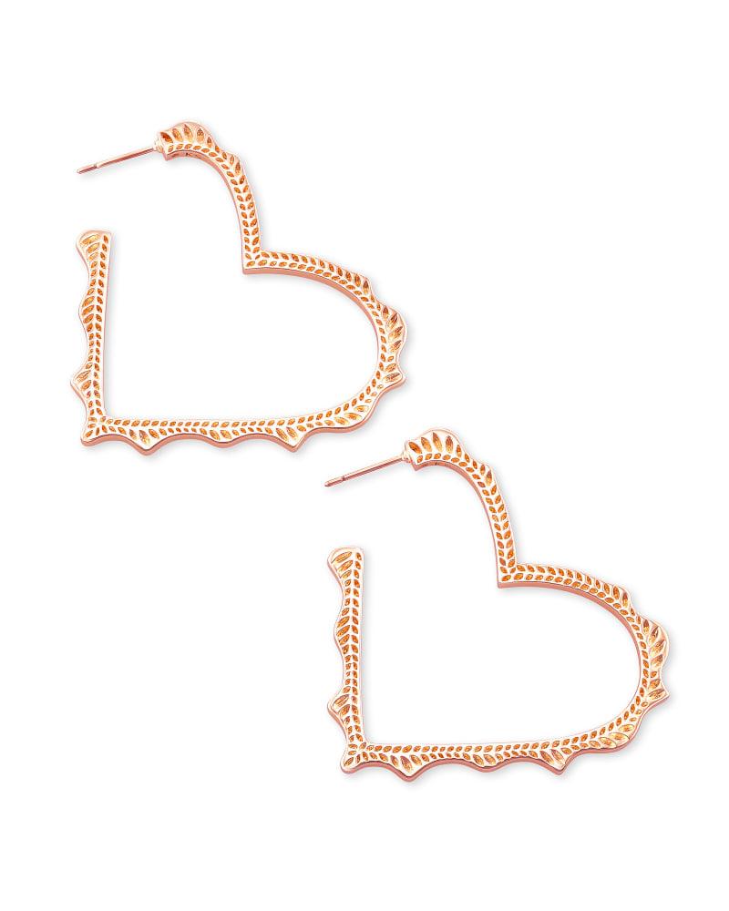 Sophee Heart Hoop Earrings in Rose Gold