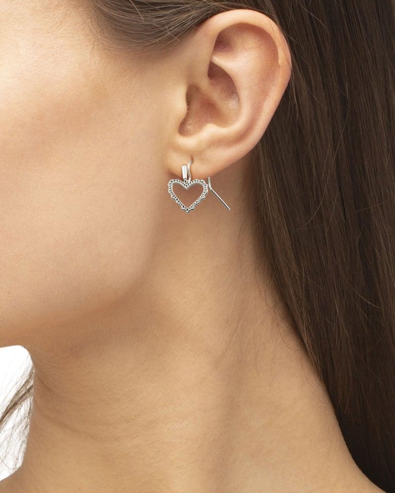 Sophee Heart Drop Earrings in Silver