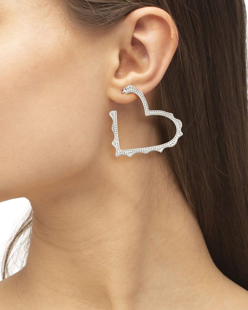 Sophee Heart Hoop Earrings in Silver