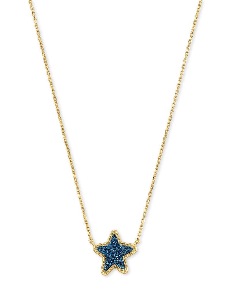 Jae Star Gold Pendant Necklace in Blue Drusy | Kendra Scott