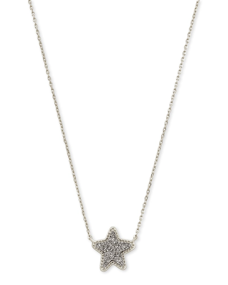 Jae Star Silver Extended Length Pendant Necklace in Platinum Drusy