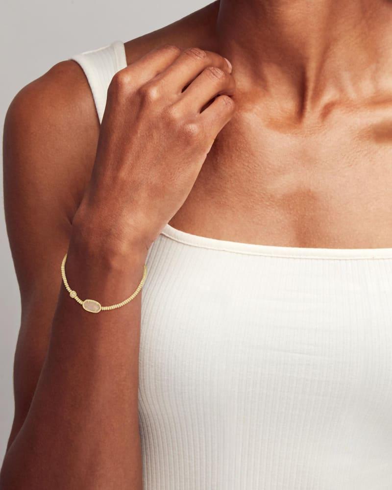 Grayson Gold Stretch Bracelet in Rose Quartz