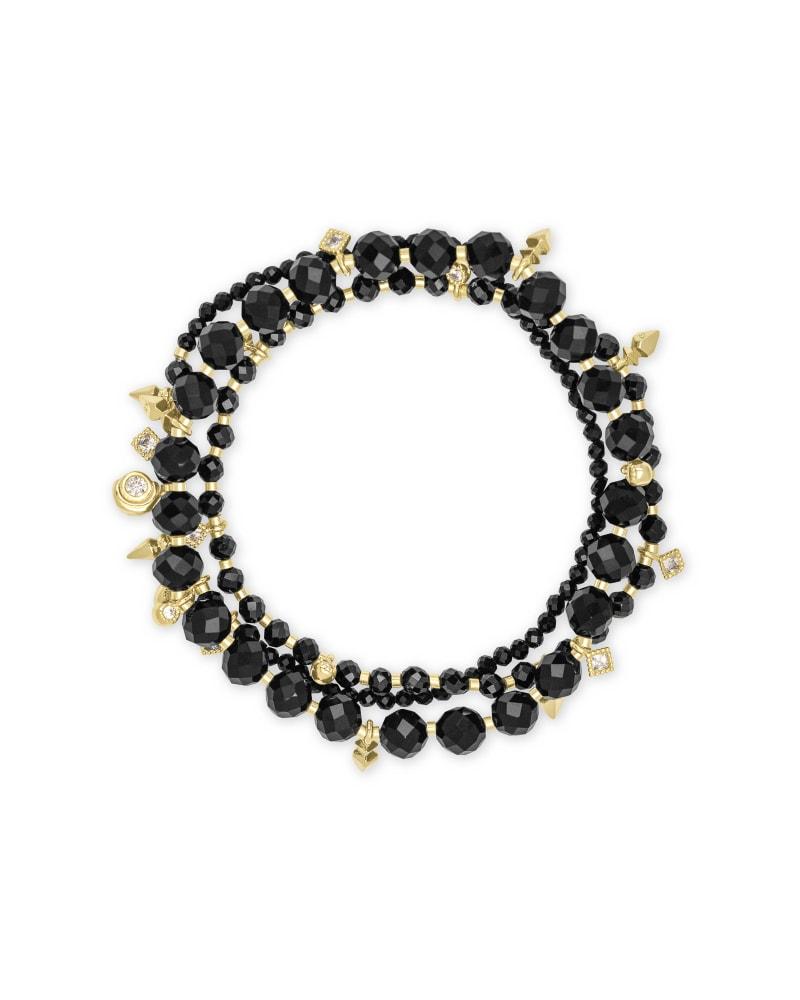 Kennedy Gold Stretch Bracelet in Black