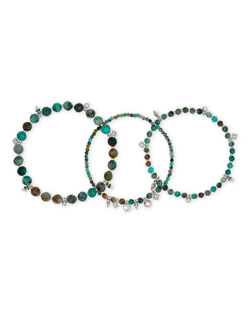 Kennedy Silver Stretch Bracelet in African Turquoise