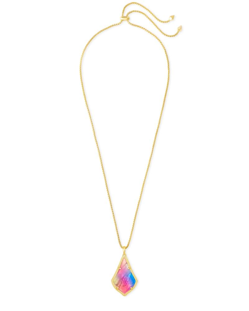 Alex Pendant Gold Long Pendant Necklace in Watercolor Illusion