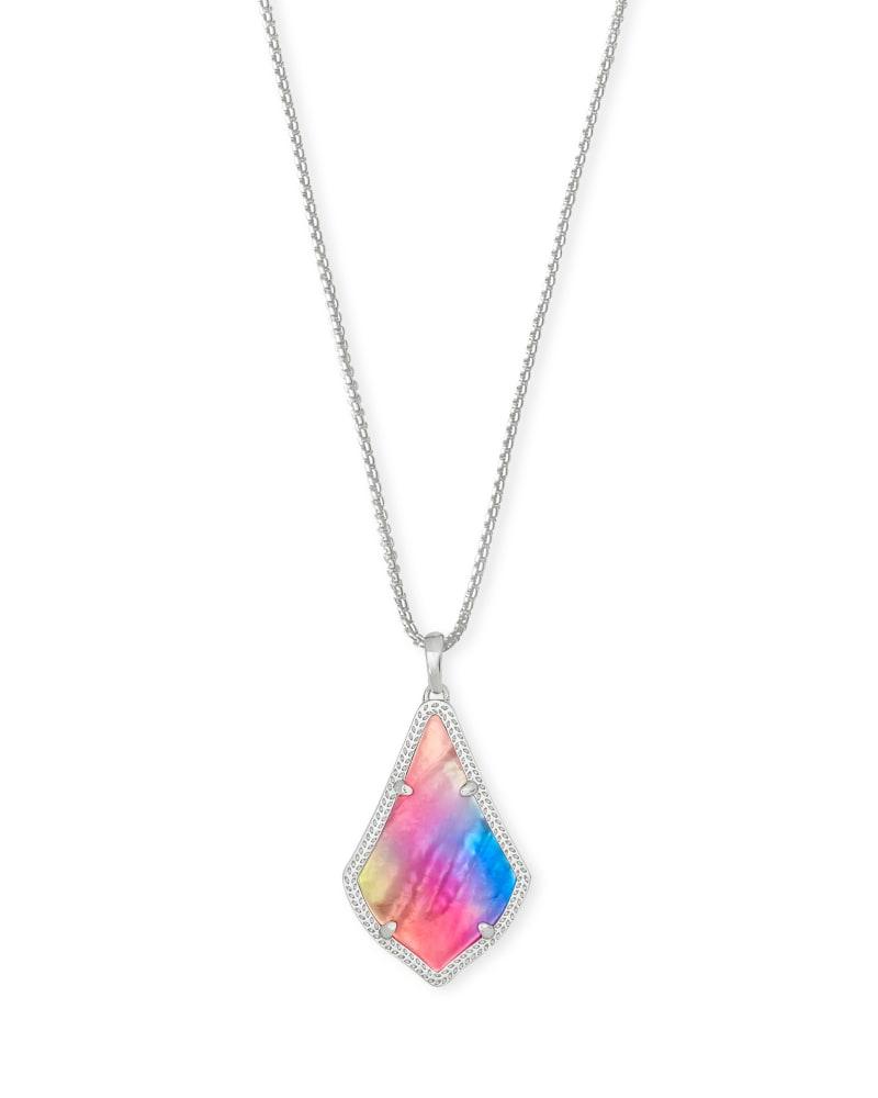 Alex Pendant Silver Long Pendant Necklace in Watercolor Illusion