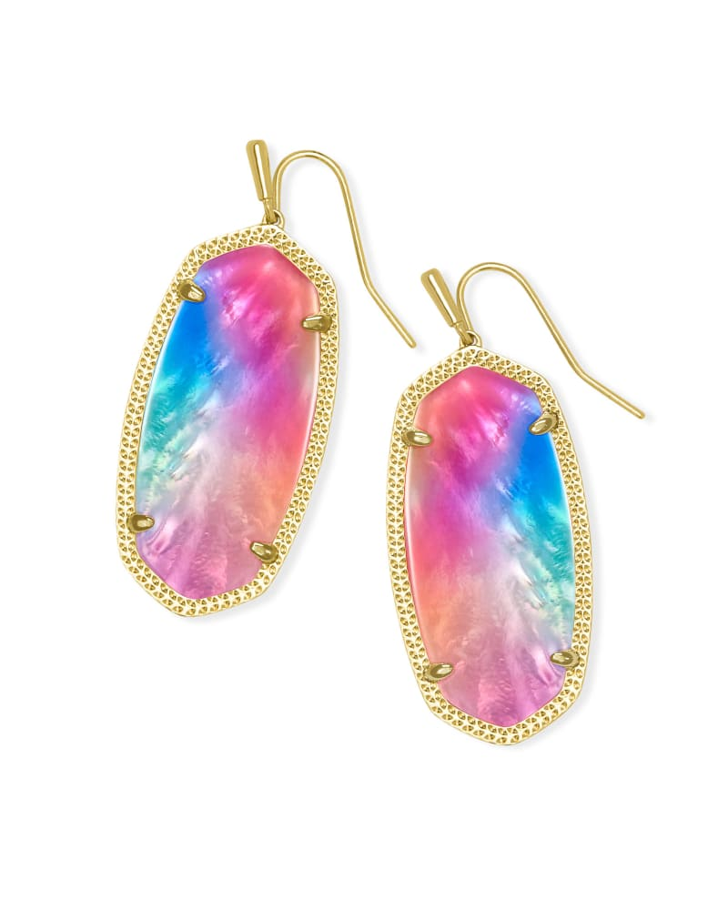 Elle Gold Drop Earrings in Watercolor Illusion