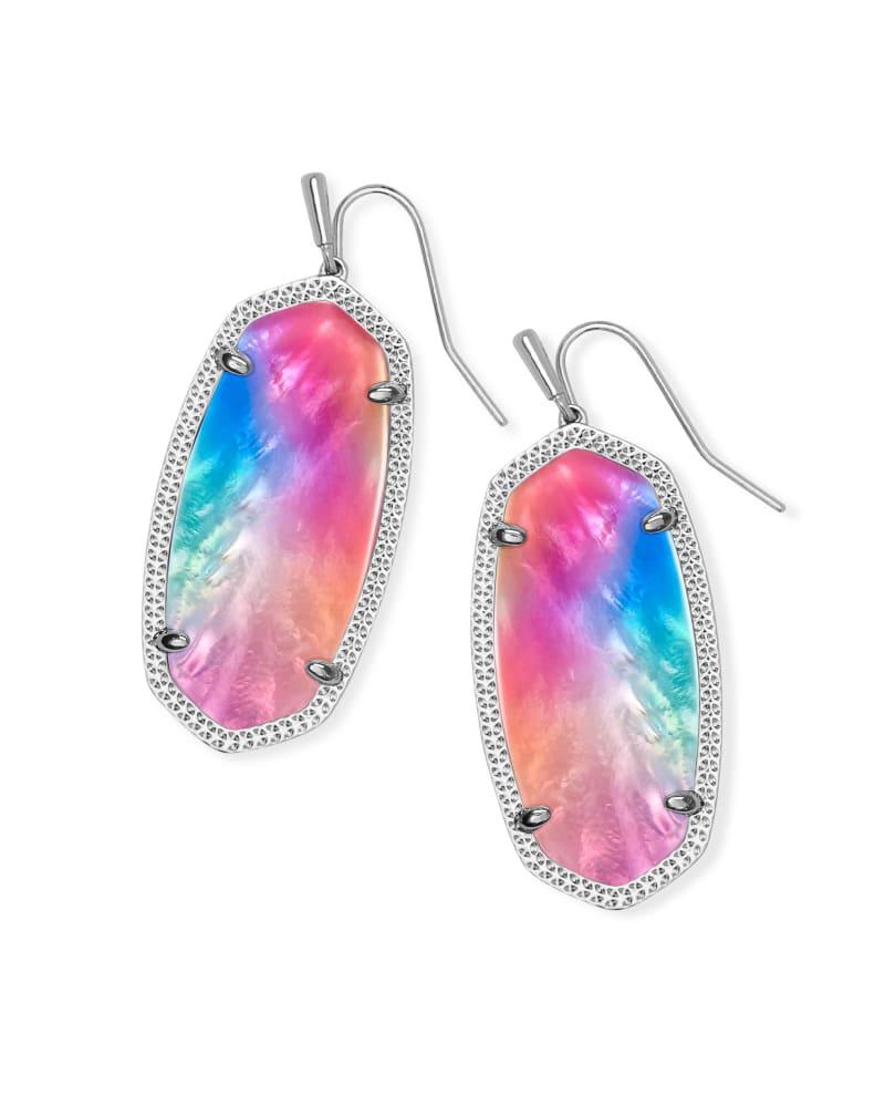 Elle Silver Drop Earrings in Watercolor Illusion