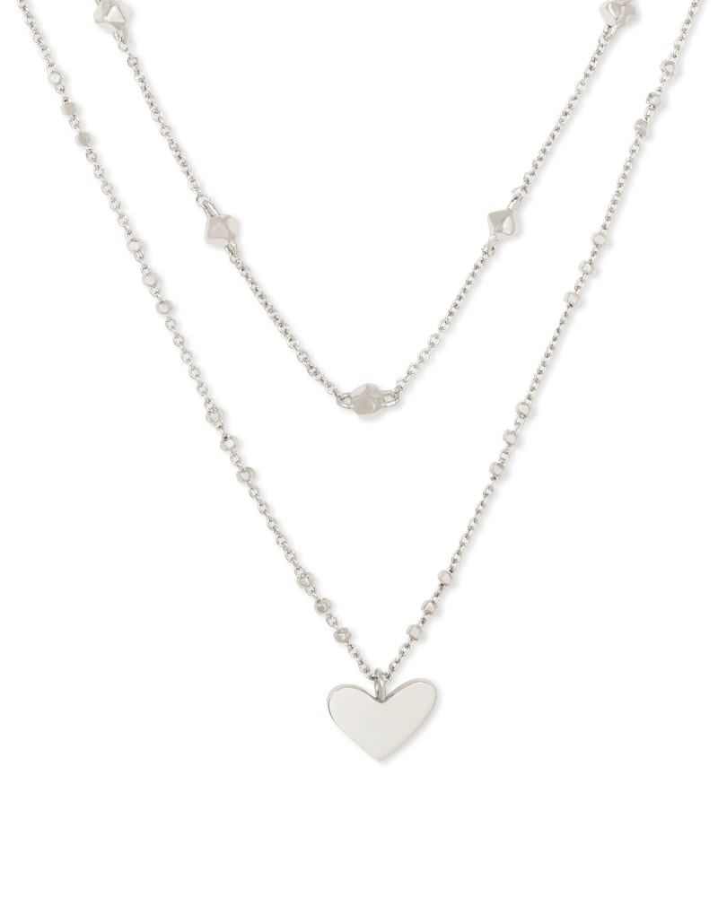 Ari Heart Multi Strand Necklace in Silver