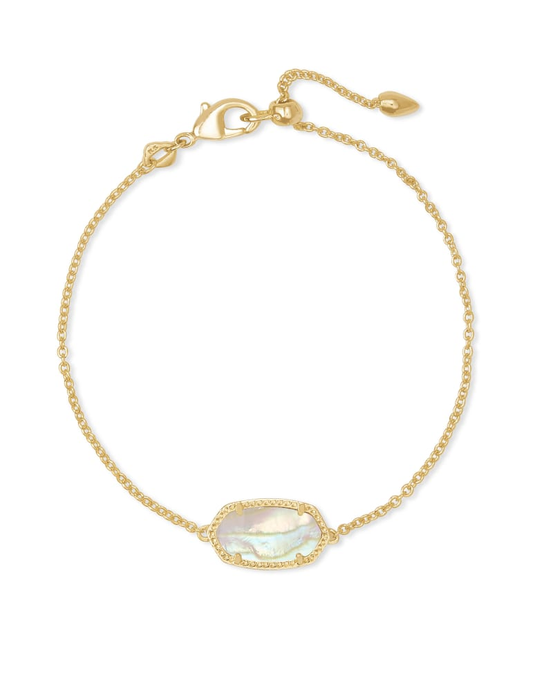 Elaina Gold Delicate Chain Bracelet in Iridescent Abalone