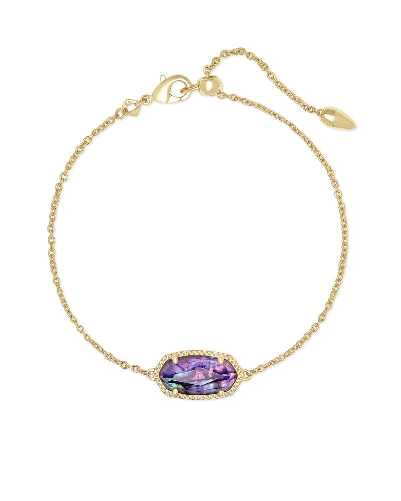 Elaina Gold Delicate Chain Bracelet in Lilac Abalone