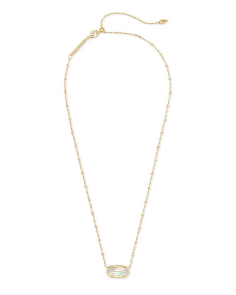 Elisa Satellite Gold Pendant Necklace in Iridescent Abalone