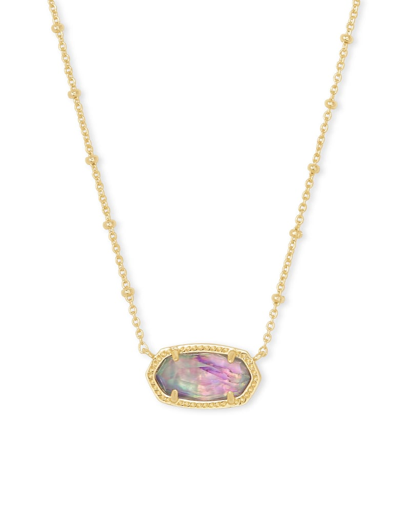Elisa Satellite Gold Pendant Necklace in Lilac Abalone