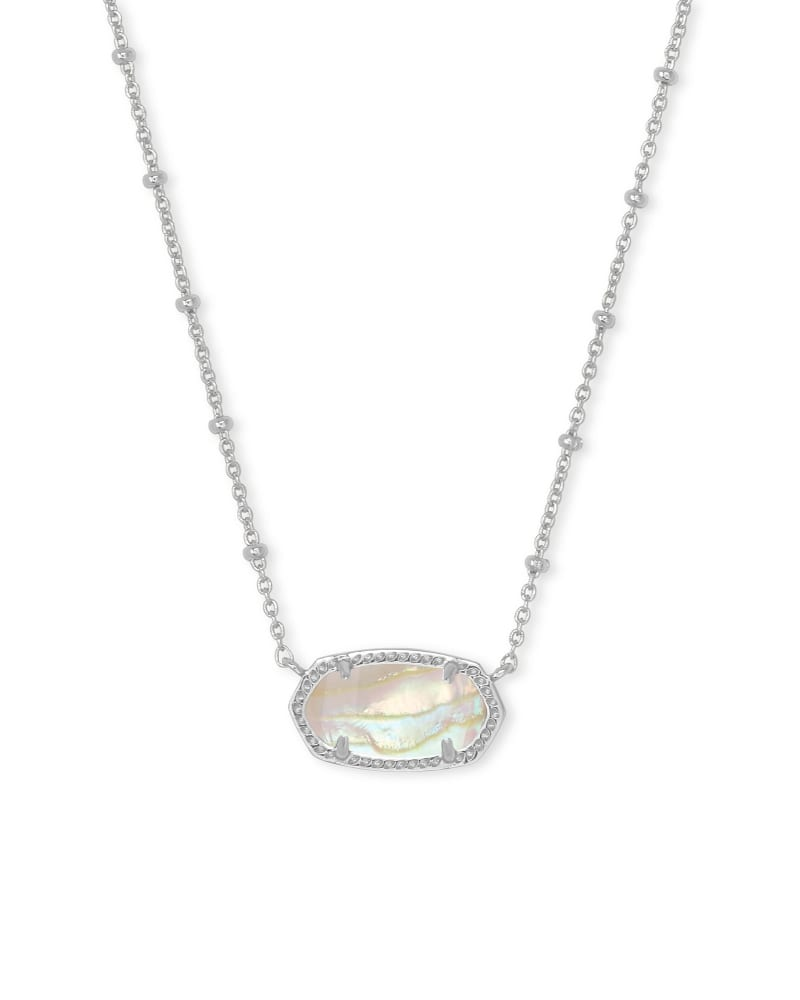 Elisa Satellite Silver Pendant Necklace in Iridescent Abalone