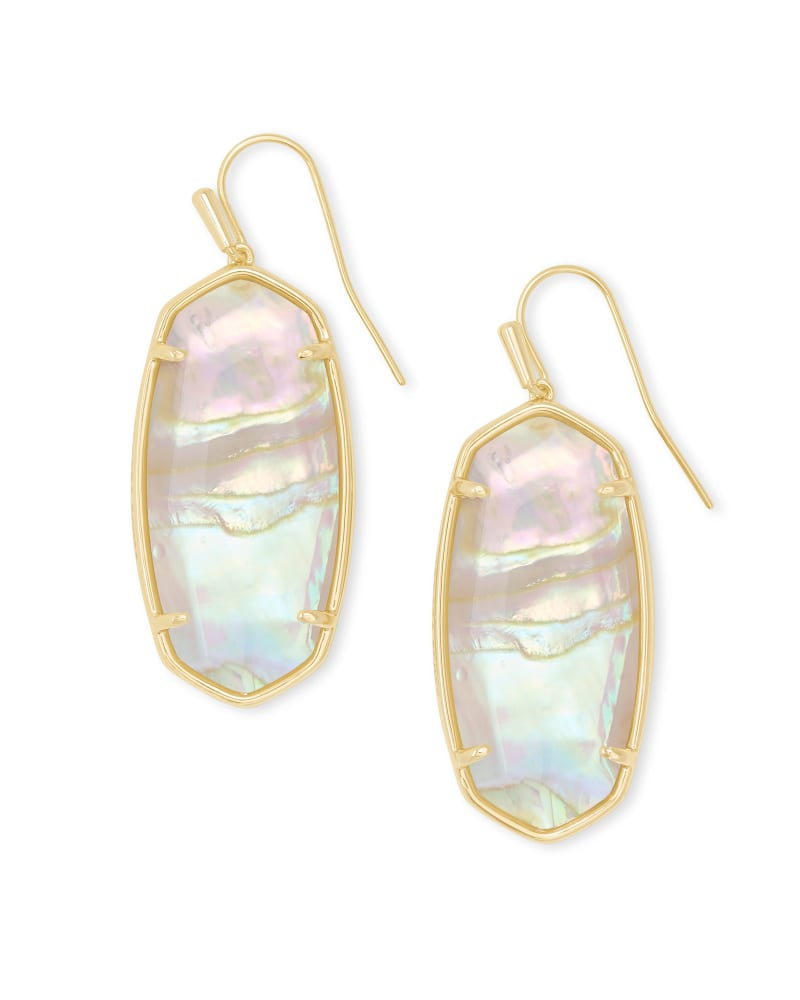 Faceted Elle Gold Drop Earrings in Iridescent Abalone