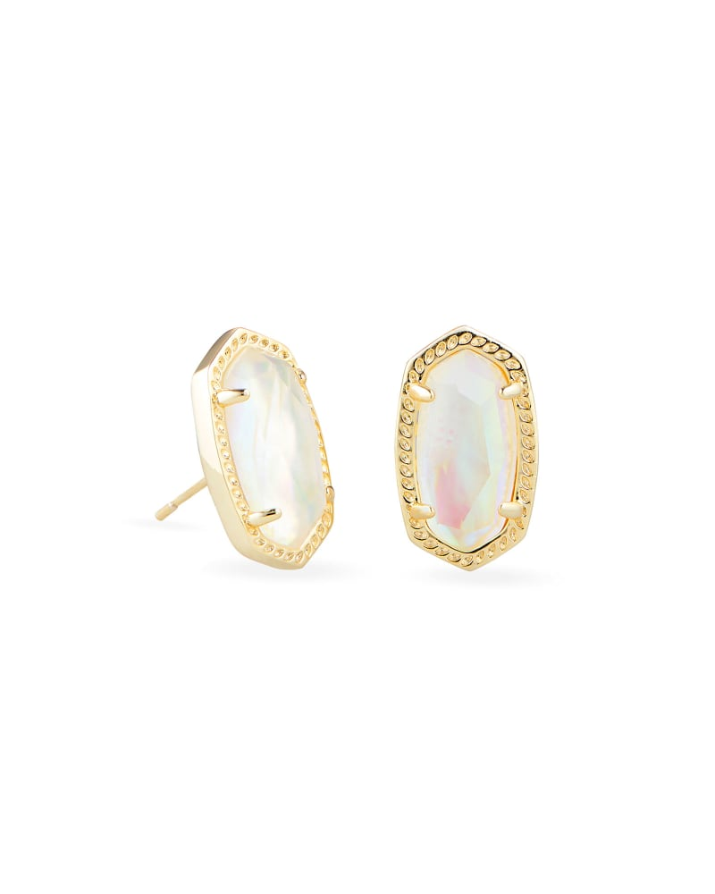 Ellie Gold Stud Earrings in Iridescent Abalone