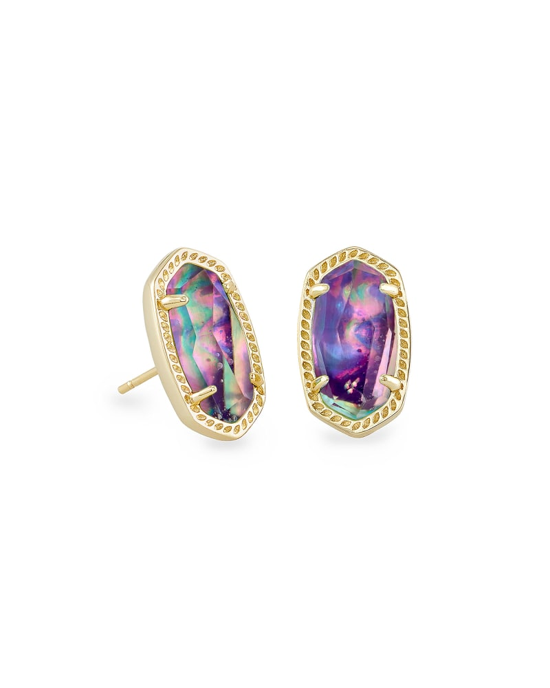 Ellie Gold Stud Earrings in Lilac Abalone
