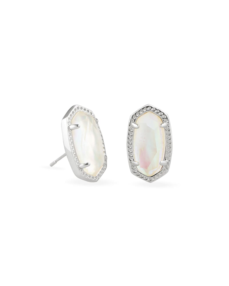 Ellie Silver Stud Earrings in Iridescent Abalone