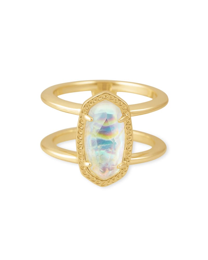 Elyse Gold Double Band Ring in Iridescent Abalone