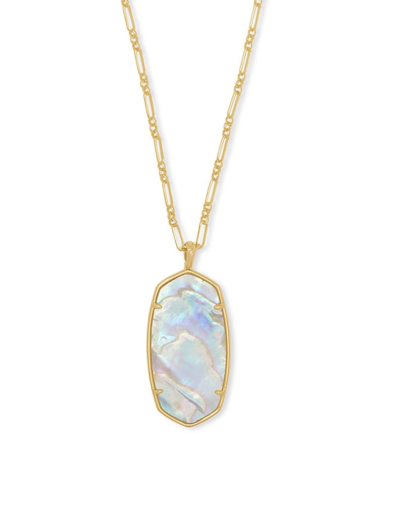 Faceted Reid Gold Long Pendant Necklace in Iridescent Abalone