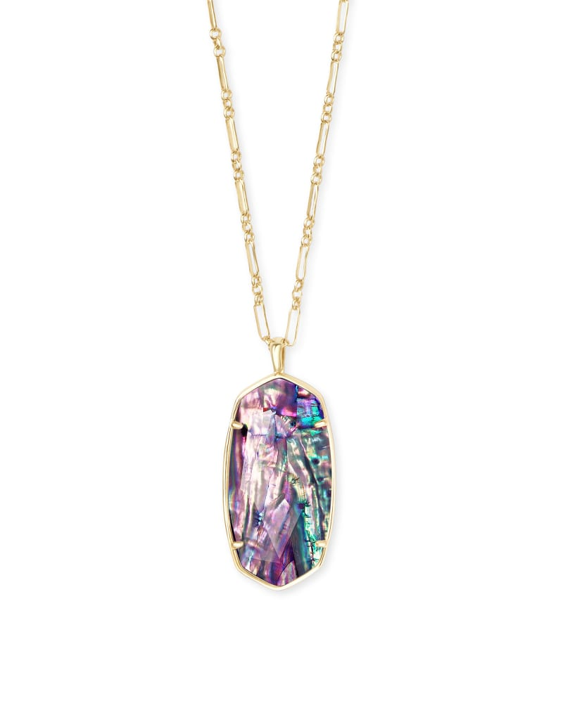 Faceted Reid Gold Long Pendant Necklace in Lilac Abalone