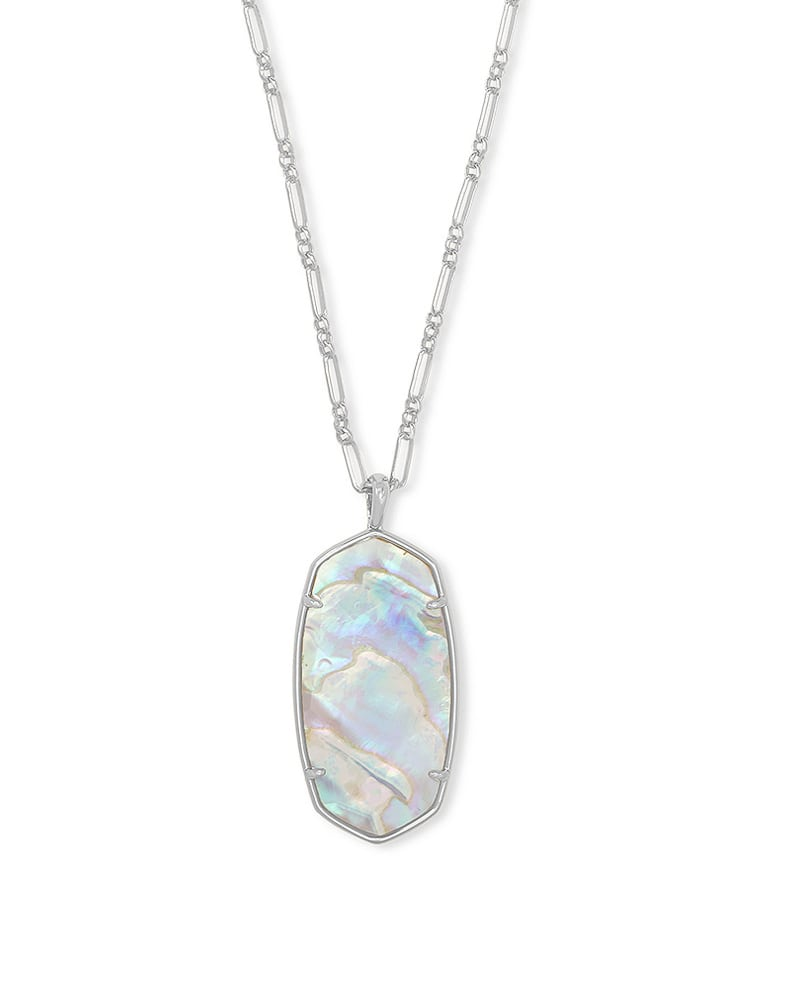 Faceted Reid Silver Long Pendant Necklace in Iridescent Abalone