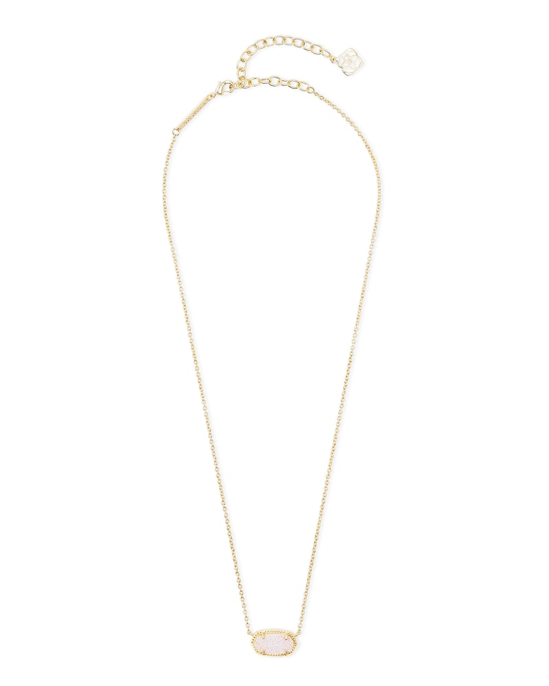 Elisa Gold Extended Length Pendant Necklace in Iridescent Drusy