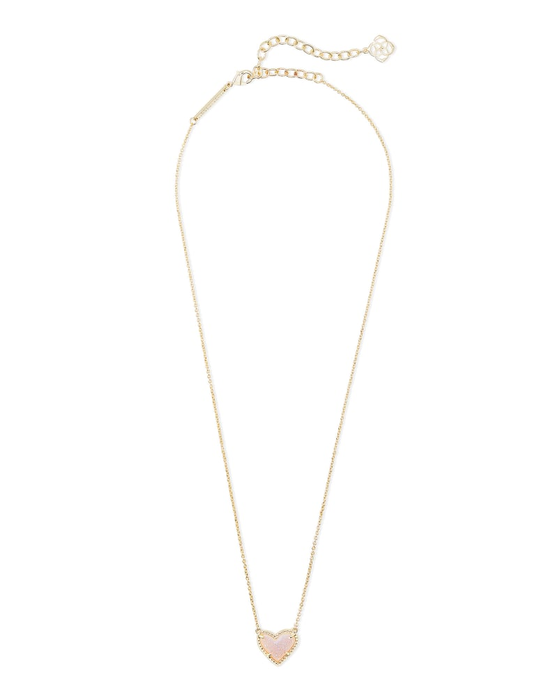 Ari Heart Gold Extended Length Pendant Necklace in Iridescent Drusy