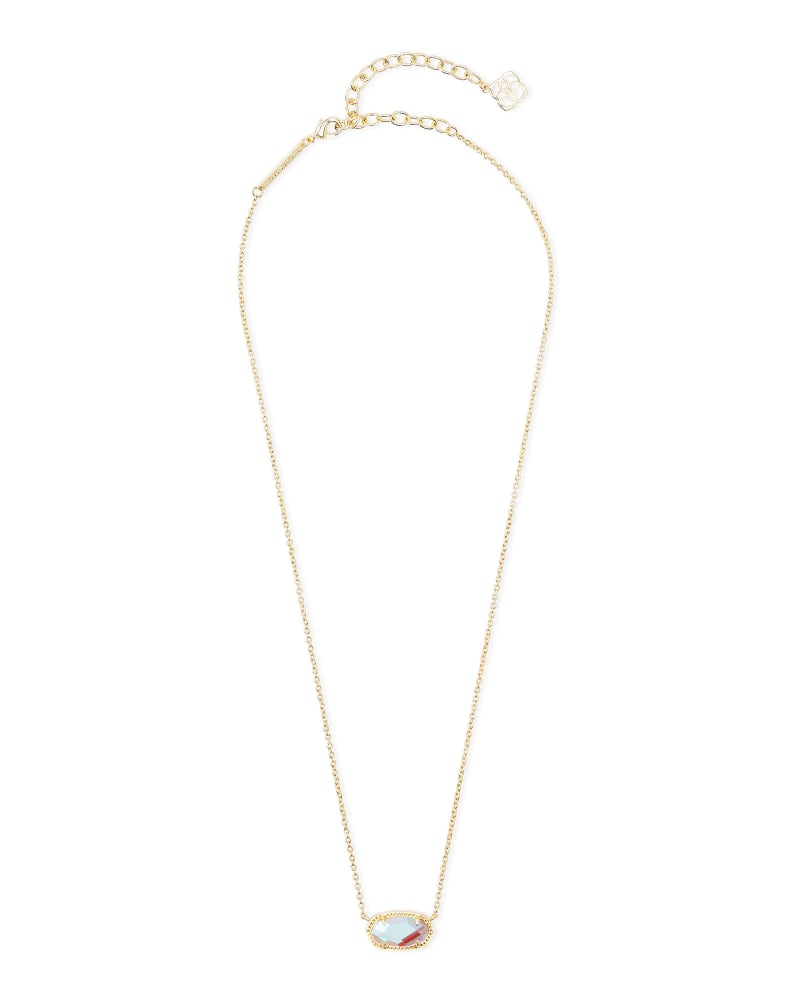 Elisa Gold Extended Length Pendant Necklace in Dichroic Glass