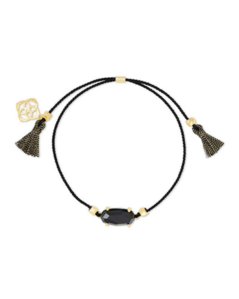 Everlyne Black Cord Friendship Bracelet in Black Glass