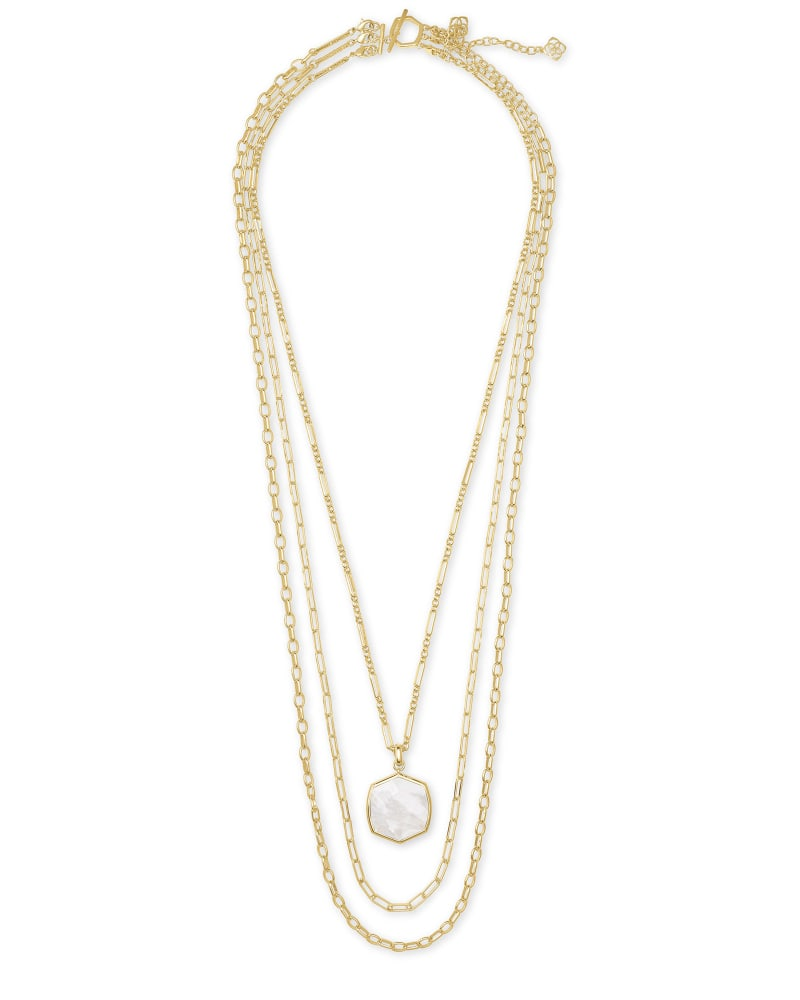 Davis Gold Multistrand Necklace in Ivory Mother-of-Pearl