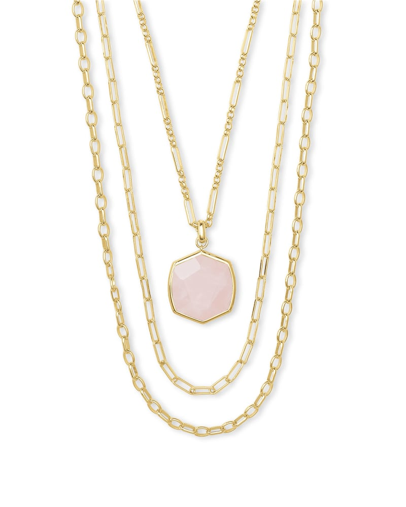 Davis Gold Multistrand Necklace in Rose Quartz