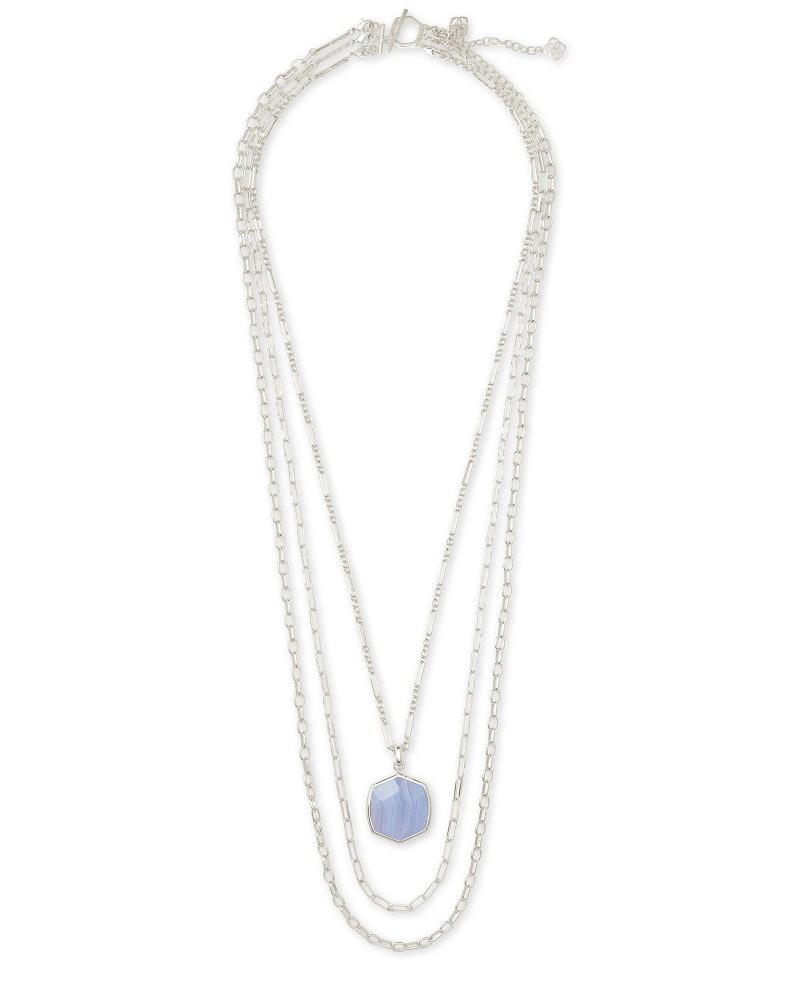 Davis Silver Multistrand Necklace in Blue Lace Agate