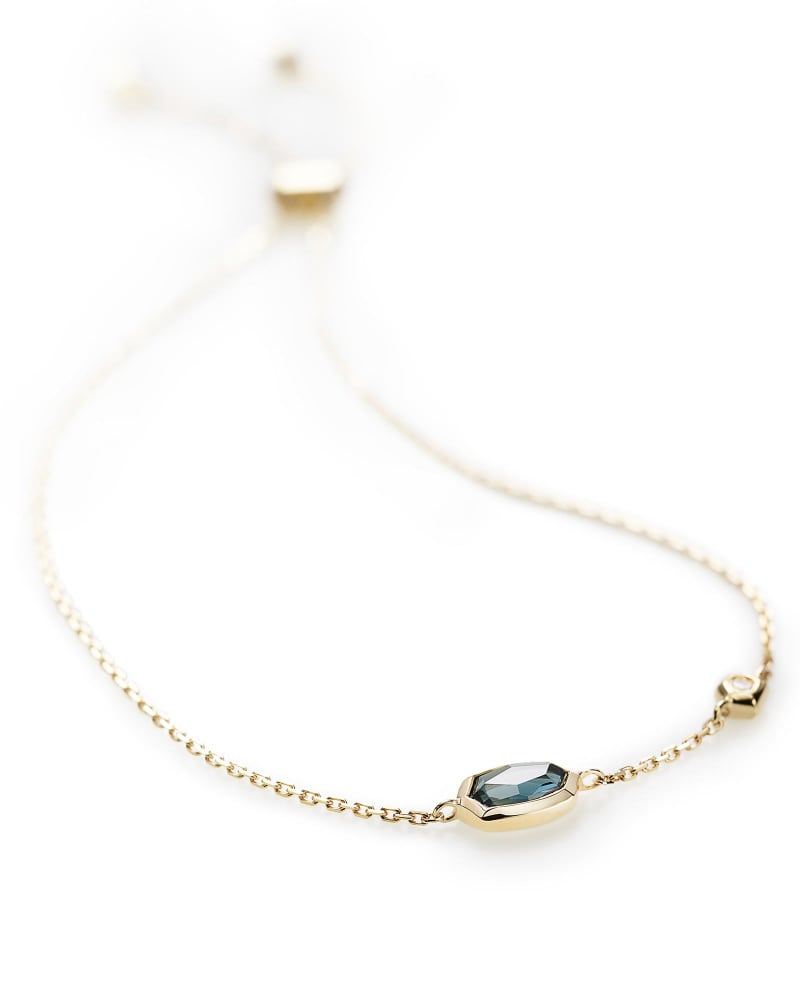 Benson Adjustable Bracelet in London Blue Topaz and 14k Yellow Gold