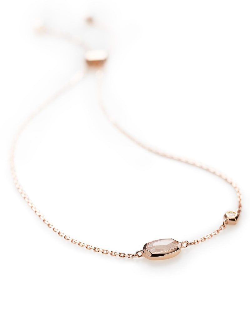 Benson Adjustable Bracelet in Rainbow Moonstone and 14k Rose Gold
