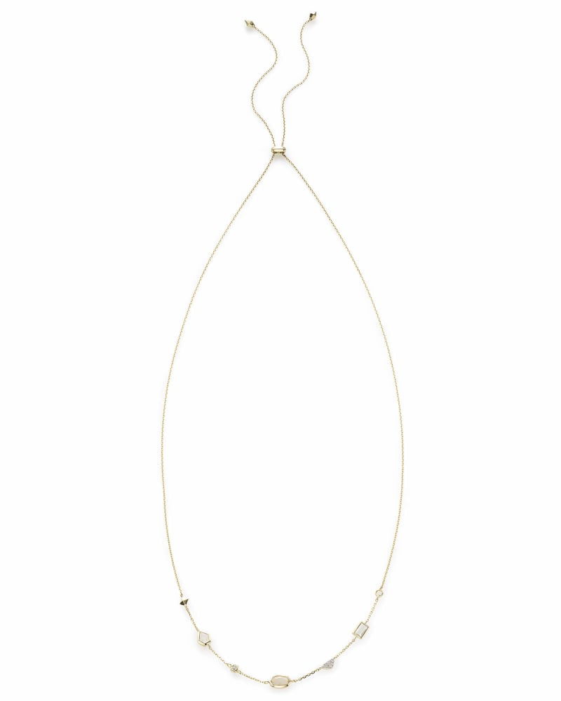 Alina Choker Necklace in Neutral Gemstone Mix and 14k Yellow Gold